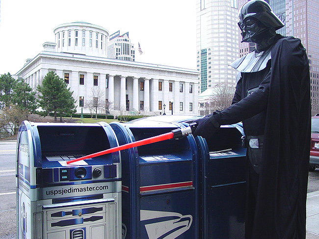 Columbus District Acting Human Resources Specialist Kirby Leathers portrayed Lord Darth Vader outside the Columbus Statehouse during a promotion of the R2-D2 collection boxes.
